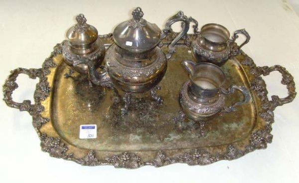 101: ORNATE SILVER ON COPPER TEA SET - 5PCS - TRAY 29 X