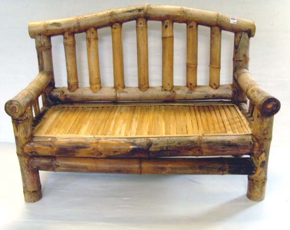102: BAMBOO GARDEN BENCH - 56 X 41 X 27 - SOME WEAR AND