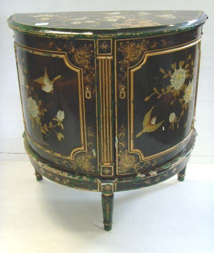 103: ORIENTAL PAINTED DEMI LUNE COMMODE - 30 X 30 X 16