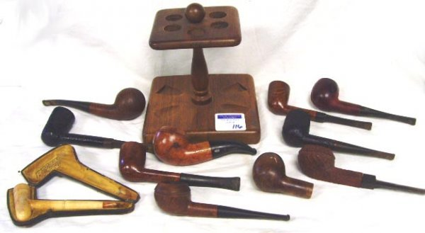 116: VINTAGE SMOKING PIPE GROUP - 12 PCS - WITH STAND