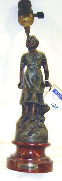 """122: BRONZE PATINATED FIGURAL LAMP BASE - OVERALL 15"""" -"""