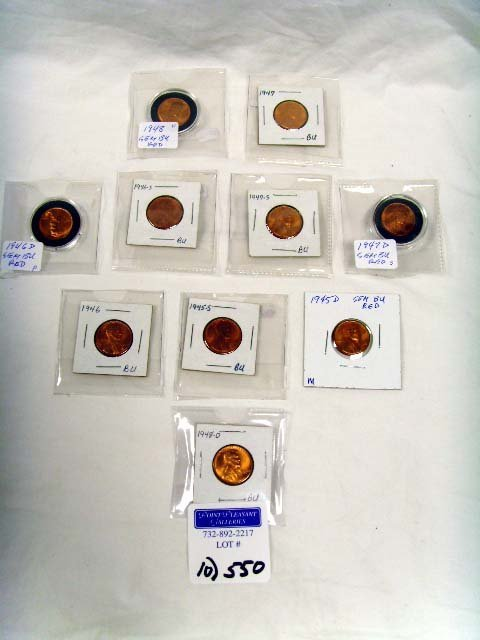 550: GROUP OF VINTAGE WHEAT PENNIES - 10 PCS