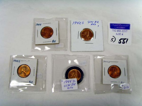 551: GROUP OF VINTAGE WHEAT PENNIES - 5 PCS
