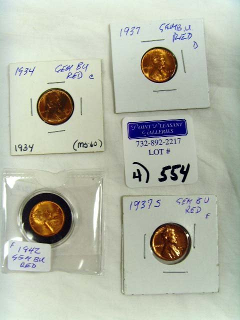 554: GROUP OF VINTAGE WHEAT PENNIES - 4 PCS