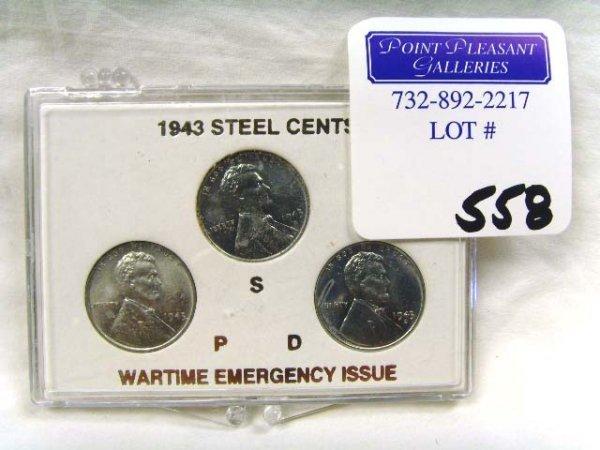 558: 1943 STEEL WARTIME PENNY SET