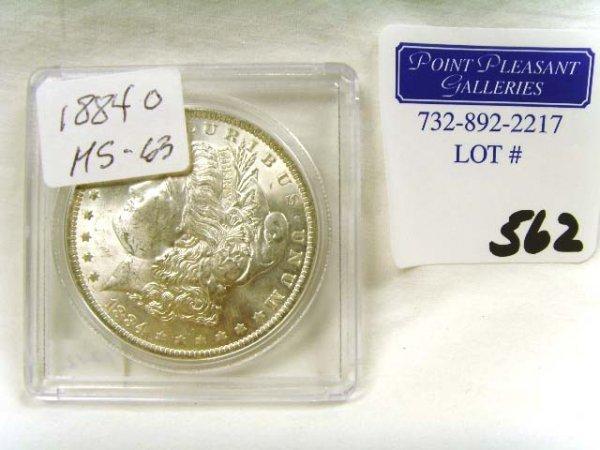 562: 1884 SILVER DOLLAR MS 63