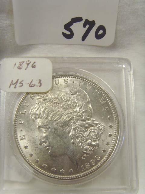 570: 1896 SOLVER DOLLAR MS 63