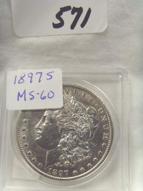 571: 1897 S SILVER DOLLAR MS 60