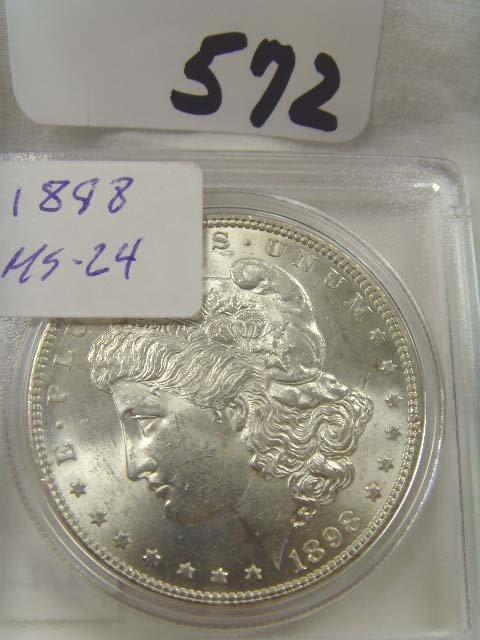 572: 1898 SILVER DOLLAR MS 64