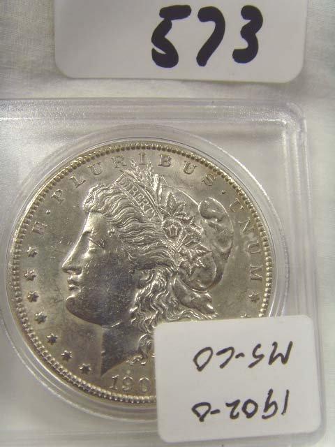 573: 1902/0 SILVER DOLLAR MS 60