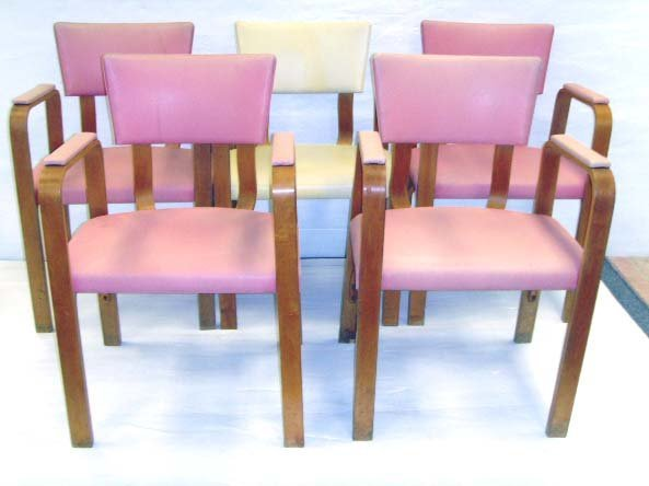 626: THONET BENTWOOD ARMCHAIR SET - 5PCS WITH ORIGINAL  - 5