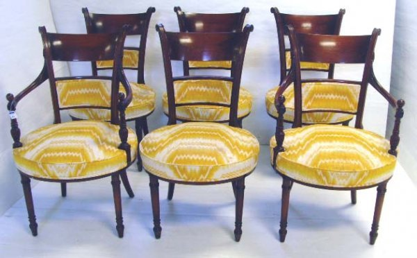 100: REGENCY STYLE MAHOGANY DINING CHAIR SET - 2 ARMS