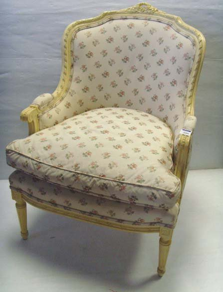 103A: PAINTED FRENCH WINGCHAIR - 37 X 27 X 30