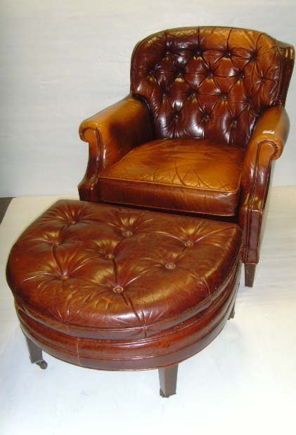 103B: VINTAGE LEATHER LIBRARY CHAIR WITH OTTOMAN - 36 X
