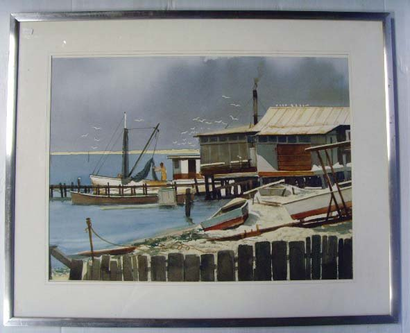 105: DONAUTY, M - SIGNED WATERCOLOR - 18 X 24 - FISHING