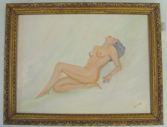 106: SIGNED NUDE PAINTING - OIL ON CANVAS BOARD 1967 -
