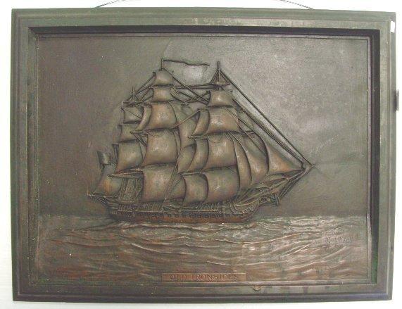118: USS CONSTITUTION SIGNED COPPER PLAQUE - SCHOEBEL
