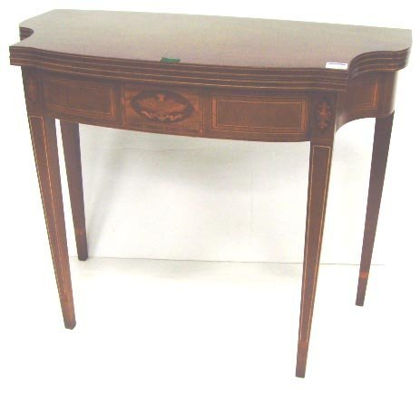 192: BAKER INLAID MAHOGANY FOLDING GAME TABLE - MUSEUM