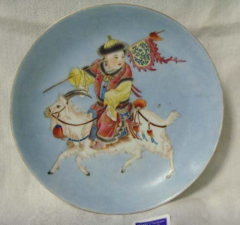 368: SIGNED ORIENTAL PAINTED CHILD WARRIOR BOWL - 8 1/4