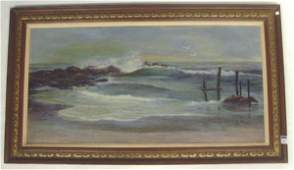 421: SCHUR, G.E. - SIGNED OIL PAINTING - 25 X 50 - SEAS