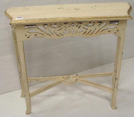 563: PAINTED RETRO CONSOLE TABLE - 33 X 30 X 10