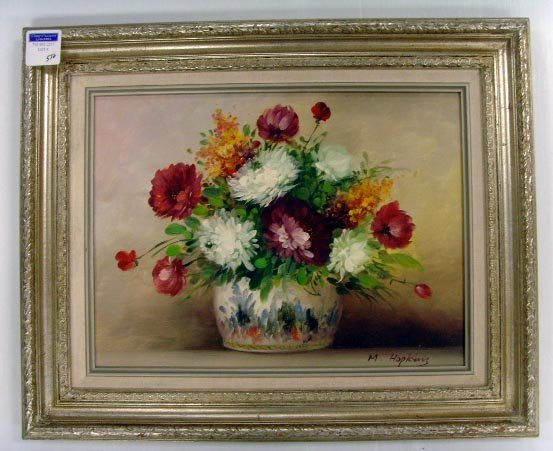 572: HOPKINS SIGNED OIL PAINTING - 12 X 16 STILL LIFE O