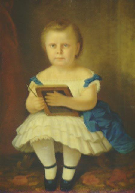 711: PRIMITIVE AMERICAN OIL PAINTING  CHILD PORTRAIT