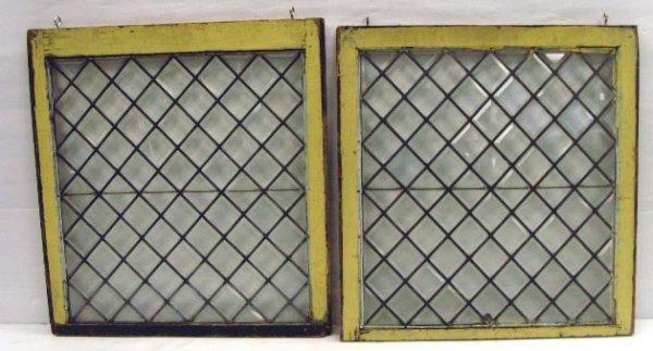 302: PAIR LEADED BEVELED GLASS WINDOW PANES - 32 X 30 I