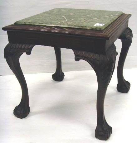 311: GEORGIAN STYLE CARVED MAHOGANY SIDE TABLE WITH INS