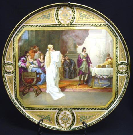 597: LARGE ROYAL VIENNA SCENE PAINTED CHARGER ARTIST SI