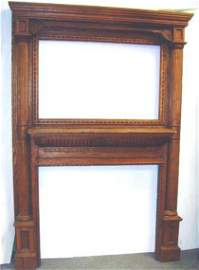 744: CARVED VICTORIAN OAK FIREPLACE MANTLE - 87 1/2 X 6