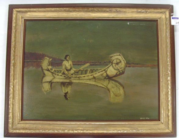 104: BILLY VAN SIGNED INDIAN OIL PAINTING - 18 X 24 ON