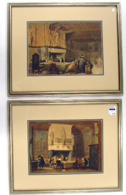 113: PAIR UNSIGNED WATERCOLORS - INTERIOR SCENE WITH FI