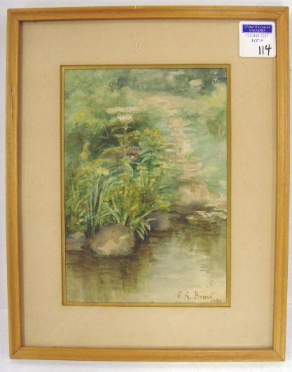 114: BRUSH, S.A. - SIGNED WATERCOLOR - 7 X 10