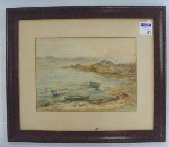 119: SPRAGUE SIGNED MAINE WATERCOLOR- 9 X 12 - RIDERS C