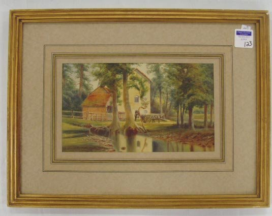 123: WILSON, L.W. - SIGNED WATERCOLOR VIEW OF OLD MILL