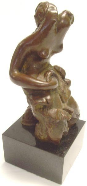 539: ARCHIPENKO SIGNED ABSTRACT BRONZE FIGURE OF A NUDE