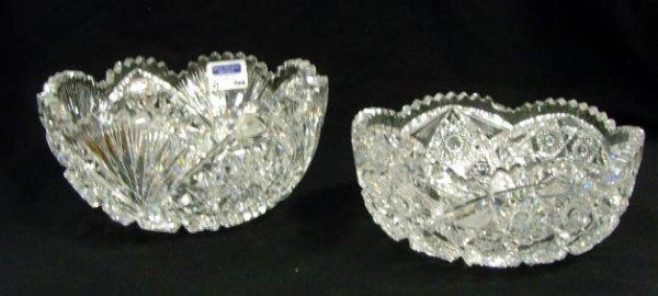 702: 2 CUT GLASS BOWLS -LARGEST MEASURES 9 X 4 1/2 MINO