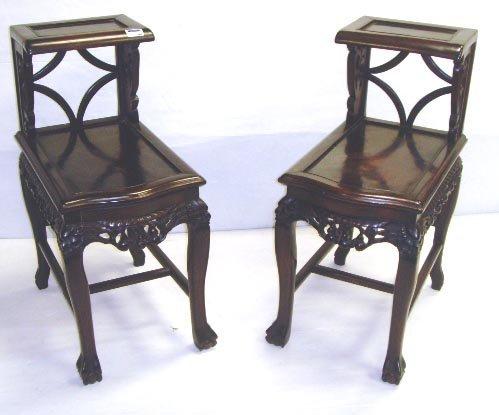 704: PAIR EARLY CARVED TEAKWOOD STEP TABLES - EACH MEAS