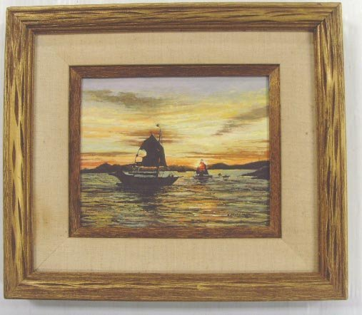 715: J. MULLIGAN SIGNED WATERCOLOR, SEASCAPE WITH BOATS