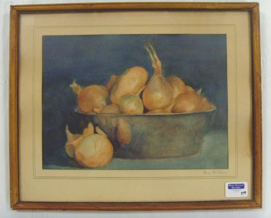 719: GRACE W. DUNN SIGNED WATERCOLOR, STILL LIFE WITH O