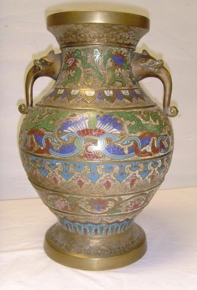 """720: EARLY CHAMPLEVE VASE, 14"""""""