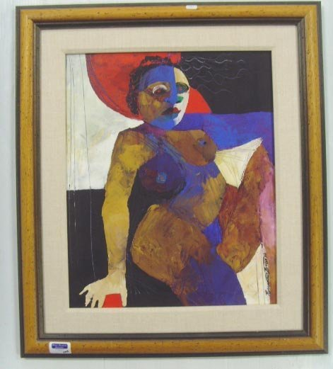 723: R. BUCADOO SIGNED OIL PAINTING, ABSTRACT NUDE ON C