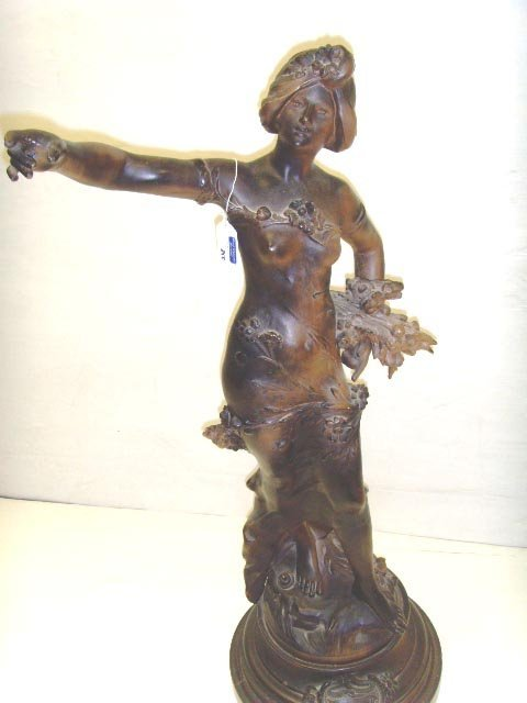 855: MOREAU STYLE VICTORIAN METAL SCULPTURE OF A WOMAN,