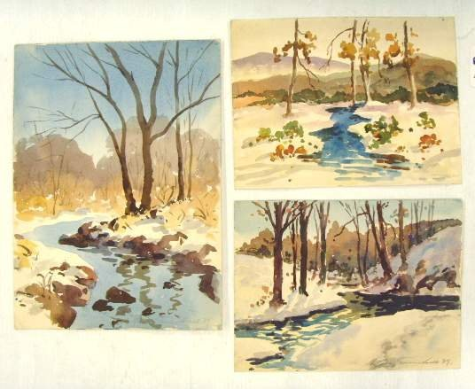 104: STANLEY TURNBULL SIGNED WATERCOLOR GROUP - LANDSCA