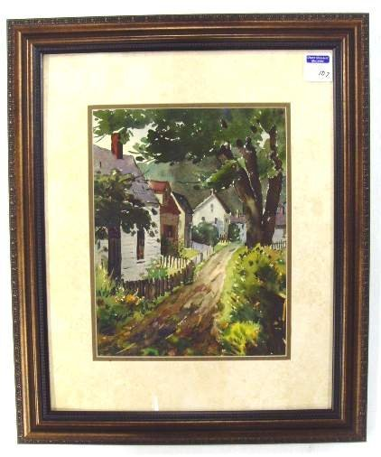 107: HENRY MARTIN GASSER WATERCOLOR COUNTRY LANE WITH H