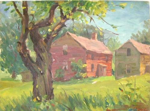 108: HENRY MARTIN GASSER OIL ON BOARD - COUNTRY SETTING