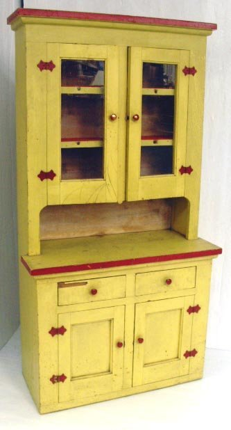 118A: CHILD'S PAINTED STEP BACK CUPBOARD