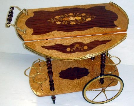 146: INLAID SORRENTO ITALY WOOD TEA CART WITH DROP LEAV