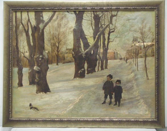 370: UNSIGNED OIL PAINTING 2 CHILDREN IN SNOWY LANDSCAP